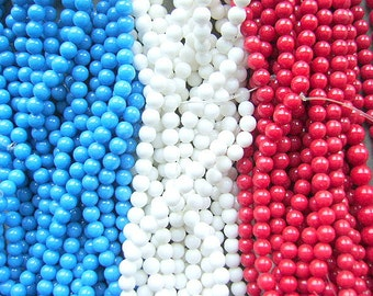 BEADS, STONE, 6MM, Strand, Red, White, Blue, 4th of July, Patriotic, Round