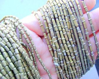 BEADS, Brass, TUBE, Barrel, Ethnic, Necklace, Tribal, CHOICE, 5 X 3mm, 11 X 3mm,  30 Inch