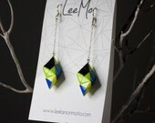 Handmade Origami Earrings, Modular - Blue, Lime, Yellow, Black