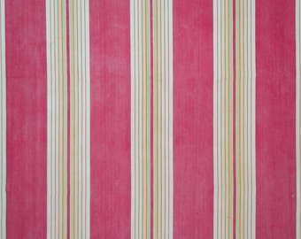 Red, tan and cream striped French ticking
