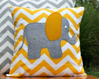 Modern Chevron Elephant Pillow Cover - Yellow and Grey - 14 x 14