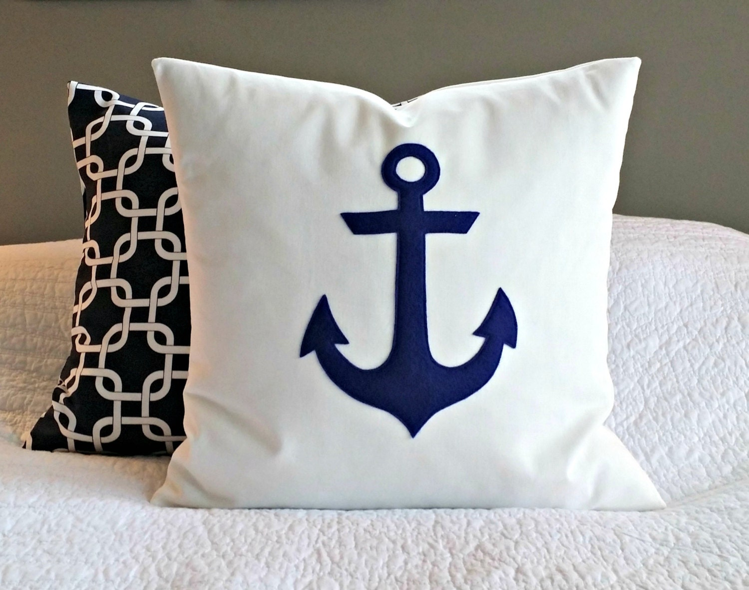 Anchor Pillow Cover Navy And White