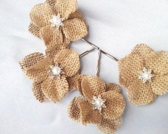 Burlap Hydrangea Bobby Pins Bridal Pin Hair Flower Girl Hydrangea Hair Clip Bobbies Set