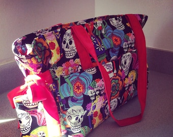 Day of the Dead Diaper Bag, Skulls Diaper Bag, Dia de los Muertos Diaper Bag, Rockabilly Baby Bag