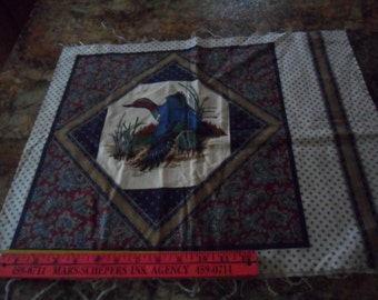 "Vintage Duck Fabric Square - 17"" long x 42"" wide - make Pillow panels"