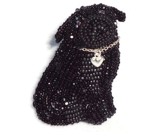 PUG LOVE black beaded keepsake dog pin slide pendant sterling silver heart jewelry / Ready to Ship