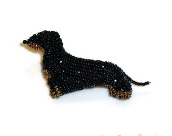 DACHSHUND beaded keepsake dog pin or brooch jewelry (Made to Order) Free US Shipping
