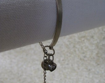 Heart Sterling Silver Bracelet Crystal Nine West Dangle Vintage 925