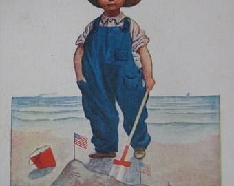 Young America Postcard Boy Beach Vintage USA