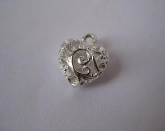 Heart Filigree Charm Silver Vintage