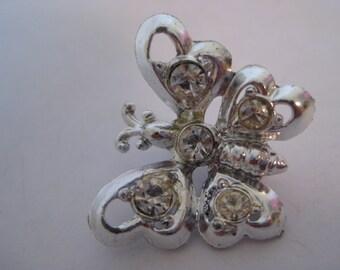 Butterfly Silver Rhinestone Brooch Vintage Pin