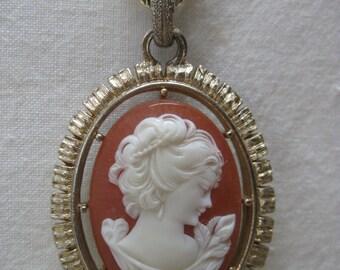Cameo Orange Off White Necklace Gold Vintage Pendant