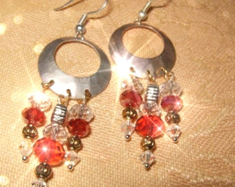 EARTHY RED  Unique Hammered Hoop Earrings