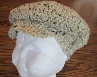Crochet Golf Hat, Irish Flat Hat, Newsboy hat, Photo prop