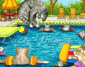 Art print 5x7 Cat 383 mouse pool from funny painting by Lucie Dumas
