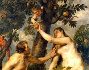 Adam and Eve by Peter Paul Rubens - an Original, Vintage 1954 Frameable Art Print