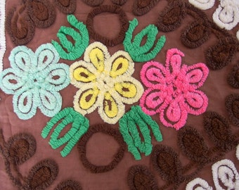 Vintage Brown Chenille with Yellow, Green and Pink Flowers for Crafting