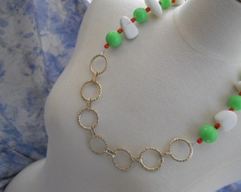 Fierce necklace - lime green vintage Lucite, white calcite, orange ceramic, upcycled metal