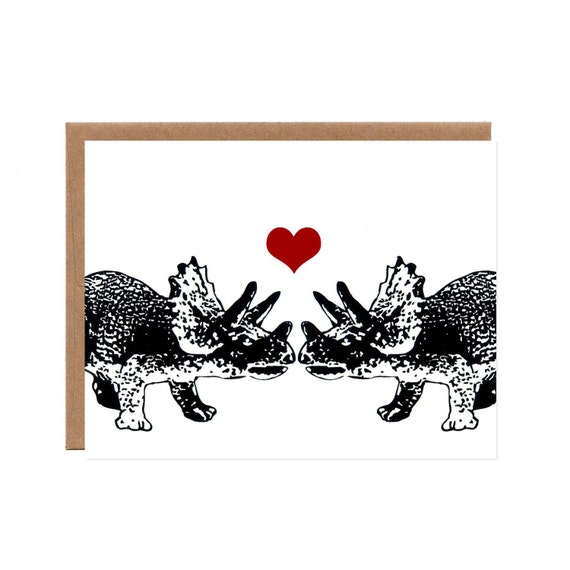 Triceratops in Love -- Blank Screenprinted Card for Valentine's Day, Anniversaries, Weddings