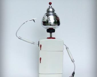 jewelry organizer, jewelry box, found object robot, robot sculpture, found object art, found object robot, retro kitchen, medicine cabinet,