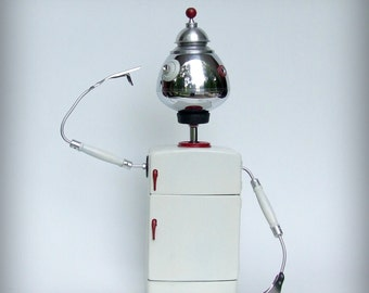 medicine cabinet, robot sculpture, found object art