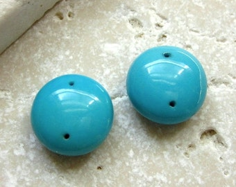 Sleeping Beauty Turquoise Double Drilled Polished Coins 11.5mm - Matched Bead Pair