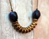 Boho Rustic Necklace, Blue Goldstone and Gold Glass Disc Beads, Blue Glitter, Antiqued Brass, Bohemian