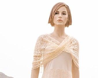 Cream Lace wedding shawl Mobius Infinity wrap ivory off white