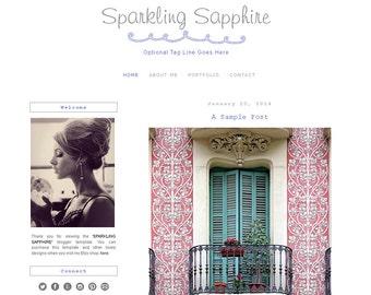 Premade Blogger Template - SPARKLING SAPPHIRE - Mobile Responsive - Graphic Design - Blog Template