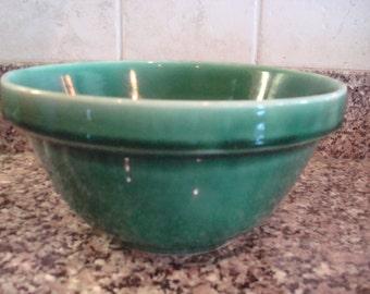 Beautiful vintage green glazed pottery bowl