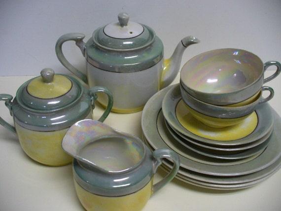 Mid Century Lusterware Tea Set