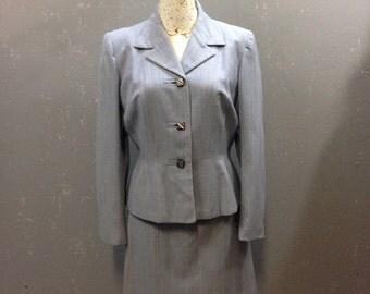 50's blue grey wool plaid, suit. Medium.