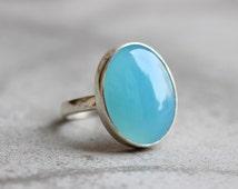 Aqua chalcedony ring - Bezel ring - Oval stone ring - Aqua ring - Gemstone ring - Unisex ring - Gift for her