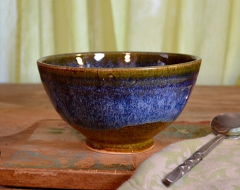 Rice bowl ceramic, stir fry asian cuisine stoneware, glazed in caramel brown sapphire blue, handmade by hughes pottery