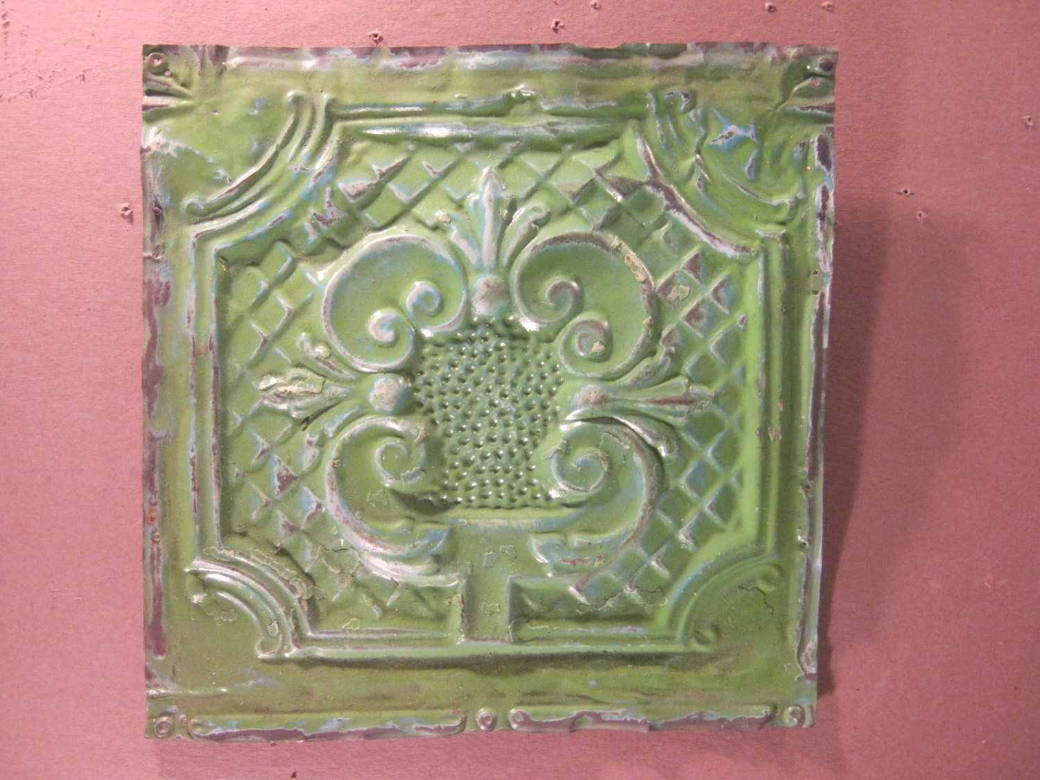 Antique Tin Ceiling Tile 12x12 Grass Green Metal Art Tile With