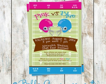 Gender Reveal Football Invitation - Gender Reveal Baby Shower Invitation - Football Baby Shower Invitation