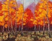 Forest Joy 24x36 Original LARGE Oil Painting Impressionism Fall Autumn Aspens Birch trees by Carl Bork