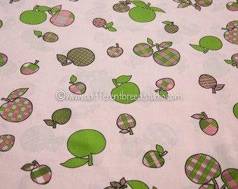 Plaid Apples- Vintage Fabric Mod Juvenile Floral Novelty Pinks Greens Preppy