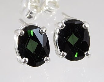 Natural Bluish Green Tourmaline 1.98 carats t.w. Handset in .925 Sterling Earrings   NOW ON SALE  -  Fast Free Shipping