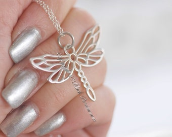 Dragonfly Necklace - Large Solid 925 Sterling Silver Openwork Pendant - Insurance Included