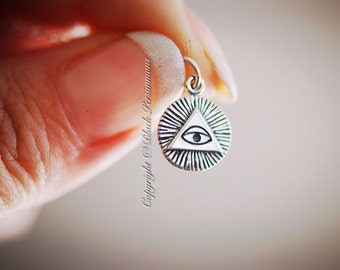 All-Seeing Eye Necklace - Solid 925 Sterling Silver Charm -  Insurance Included