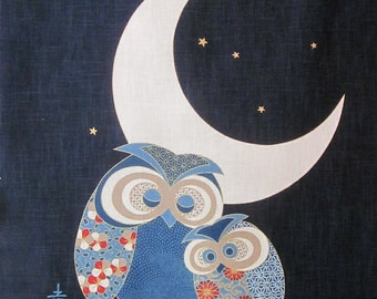 Japanese panel - Parent and Baby Owl