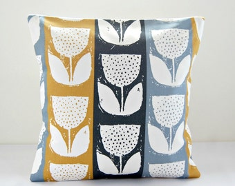 grey blue, mustard, charcoal grey flower cushion cover, flower pillow cover 16 inch
