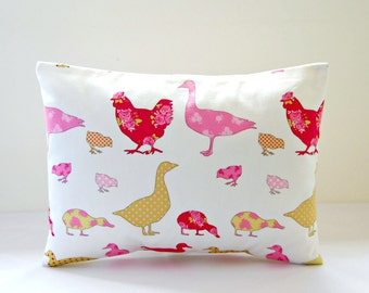decorative pillow cover cerise rose pink ducks chicks chickens geese 12 x 16 inch lumbar cushion cover