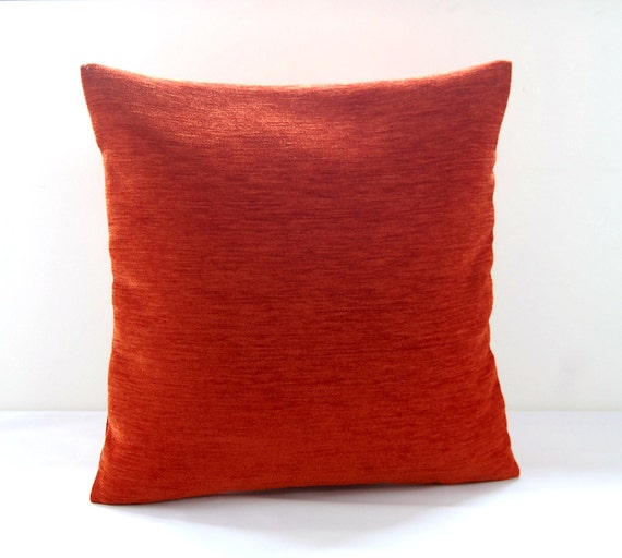 accent pillow cover burnt orange chenille by LittleJoobieBoo