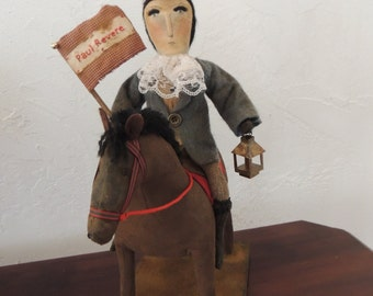 Primivite Paul Revere Doll on Horse Folk Art Fabulous FREE SHIPPING