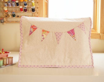 Sewing Machine Cover - Lavender Floral and Dot Banner