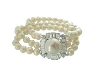 Vintage Pearl Bracelet, Designer Marvella Rhinestone Clasp, Original 1950s Wedding Jewelry