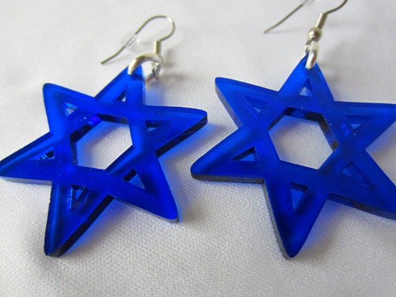 Star of David holiday jewelry Earrings by CutByLIghtDesigns