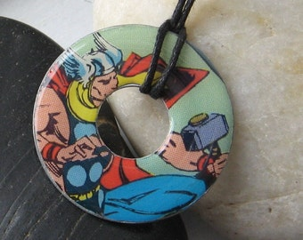 THOR Vintage Comic Book Upcycled Washer Pendant Necklace The Avengers Marvel Comics